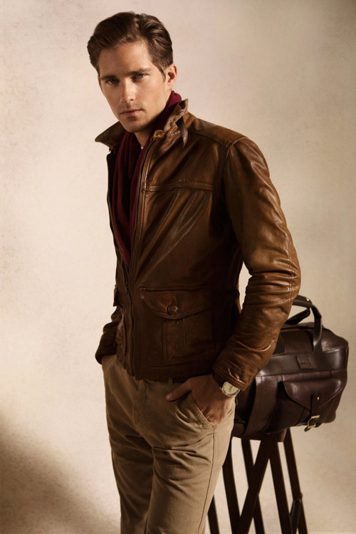 Brown leather jacket mens fashion 56