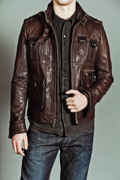 What looks good with a brown leather jacket