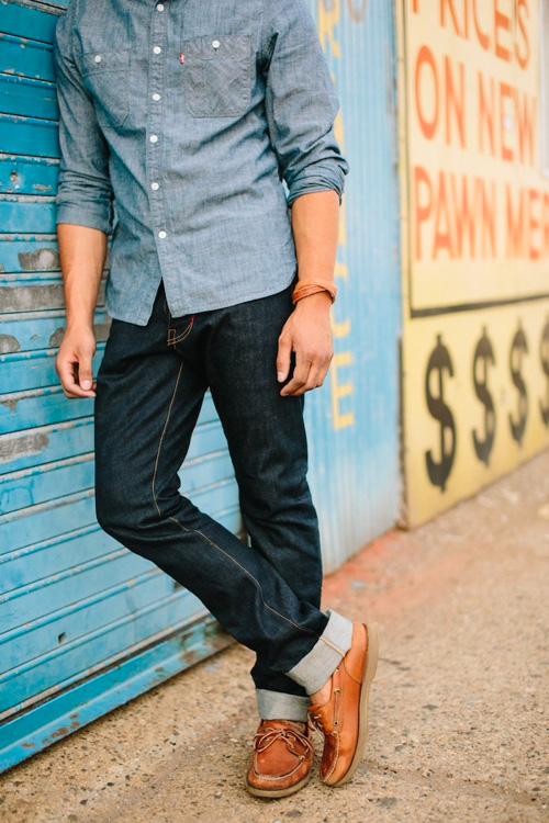 mens chambray and denim style famous outfits