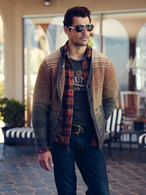 Plaid flannel shirts inspiration for men famous outfits for Flannel shirt under sweater