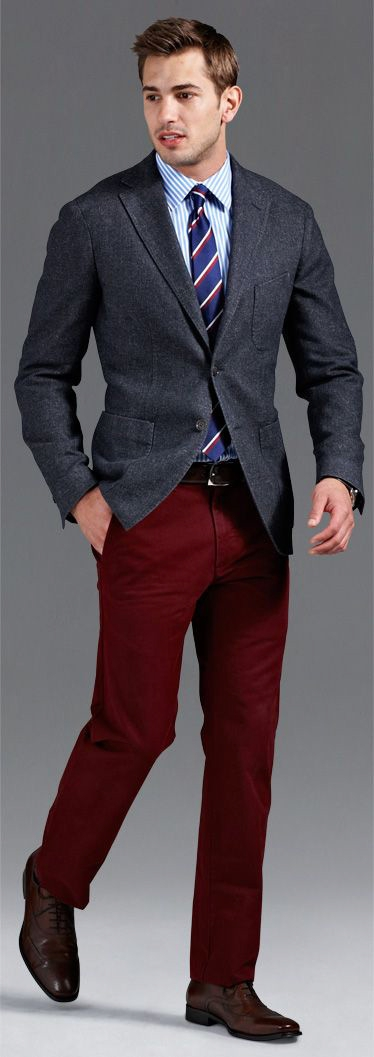 Find this Pin and more on Men's Red Pants Style by Famous Outfits. Men's fashion/ red chino/ summer style/Nicely done outfitted Nantucket red chinos. Chris N - Indochino Shirt, Cole Haan Suede Shoes, Topman Chinos - Eiffel Chair Step out in style with TucciPolo high quality Italian leather handmade belts. Them trousers tho.