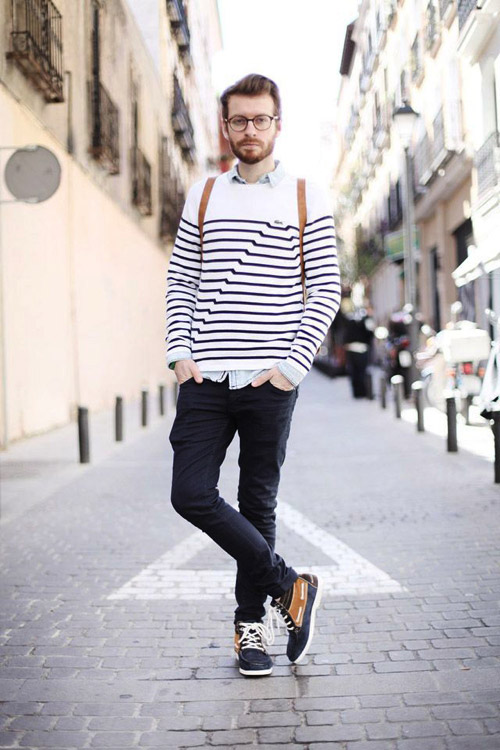 Horizontal stripes for men famous outfits for White shirt outfit mens
