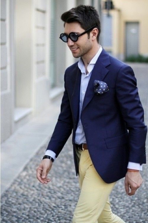 Whatever the occasion may be, a well-tailored navy blue blazer will never  disappoint! 795bad564b